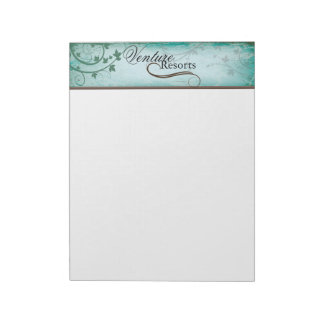 Vintage Texture Teal Note Paper with Leafy Swirls
