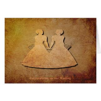 Vintage Texture Wedding Card for Lesbians