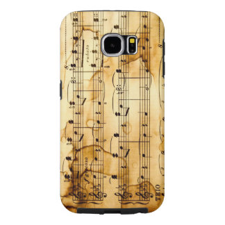 vintage texture with musical notes samsung galaxy s6 cases