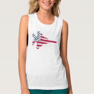 Vintage Textured American Flag Strike Eagle Tank Top
