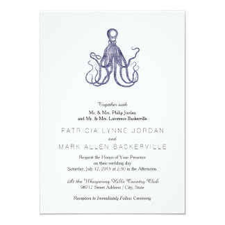 Vintage Textured Octopus 13 Cm X 18 Cm Invitation Card