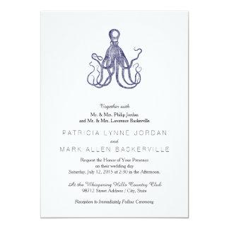 Vintage Textured Octopus 13 Cm X 18 Cm Invitation Card