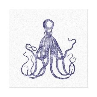 Vintage Textured Octopus Canvas Print