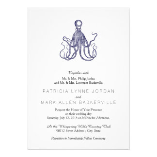 Vintage Textured Octopus Personalized Invite