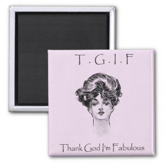 Vintage Thank God I'm Fabulous Magnet