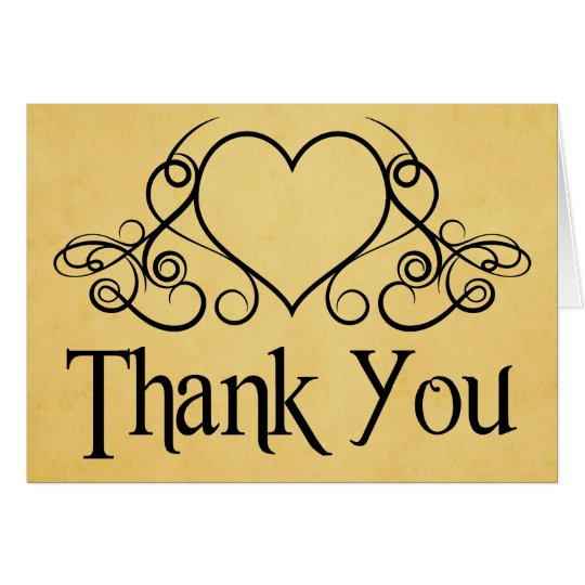 Vintage Thank You Black And Gold Love Heart Card