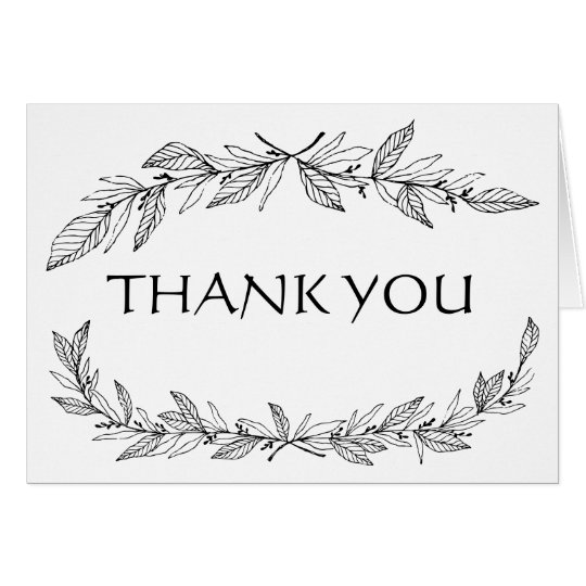 Vintage Thank You Black, White Laurel Leaf Wedding