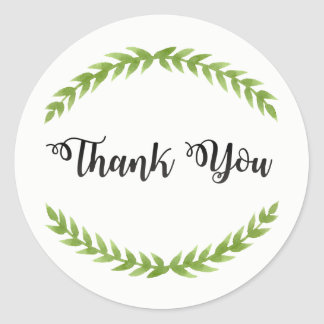 Vintage Thank You Sticker with Leaves