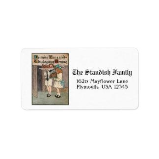 Vintage Thanksgiving Children with Turkey Address Label