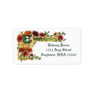 Vintage Thanksgiving Chrysanthemums Address Label