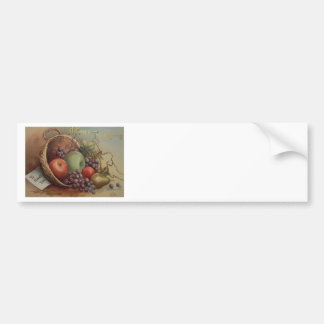 Vintage Thanksgiving - Cornucopia of Fruit Bumper Sticker