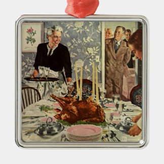 Vintage Thanksgiving Day Turkey Dinner with Family Christmas Ornament