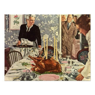 Vintage Thanksgiving Day Turkey Dinner with Family Custom Invites