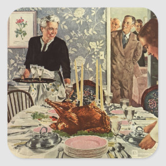 Vintage Thanksgiving Day Turkey Dinner with Family Square Sticker