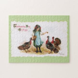 Vintage Thanksgiving Farm Girl & Turkeys Puzzle