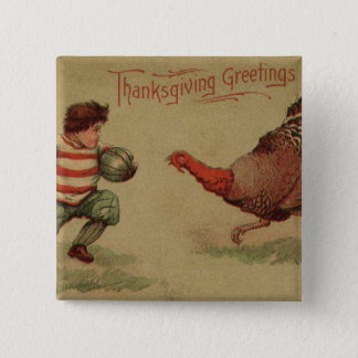 Vintage Thanksgiving Football and Turkey 15 Cm Square Badge