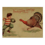 Vintage Thanksgiving Football and Turkey Postcard