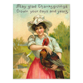 Vintage Thanksgiving Girl Greeting Magnetic Invitations