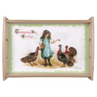 Vintage Thanksgiving Girl & Turkeys Serving Tray