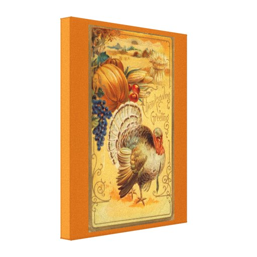 Vintage Thanksgiving Greeting Stretched Canvas Prints