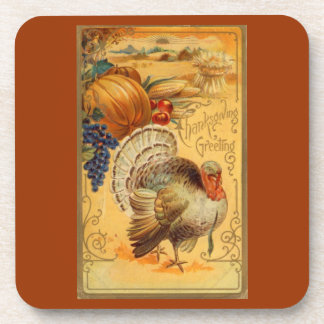Vintage Thanksgiving Greeting Coaster