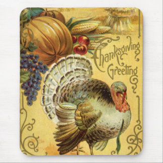 Vintage Thanksgiving Greeting with a Turkey Mouse Mat
