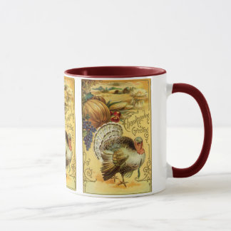 Vintage Thanksgiving Greeting with a Turkey Mug