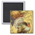 Vintage Thanksgiving Greeting with a Turkey Square Magnet