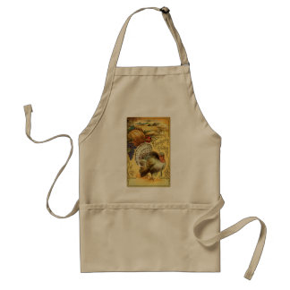 Vintage Thanksgiving Greeting with a Turkey Standard Apron