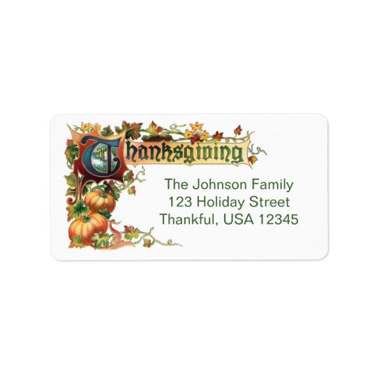 Vintage Thanksgiving Greeting with Pumpkins Label