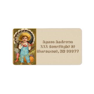 Vintage Thanksgiving Greetings Boy Address Label