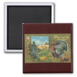 Vintage Thanksgiving Greetings with a Turkey Farm Refrigerator Magnets