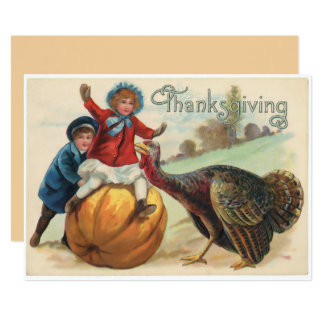 Vintage Thanksgiving illistration Children Turkey Card