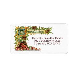 Vintage Thanksgiving Illuminated Greeting Address Label