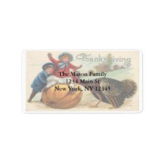Vintage Thanksgiving illustration Children Turkey Address Label