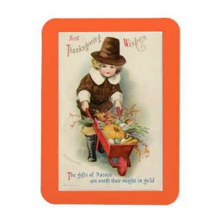 Vintage Thanksgiving Pilgrim Rectangular Photo Magnet