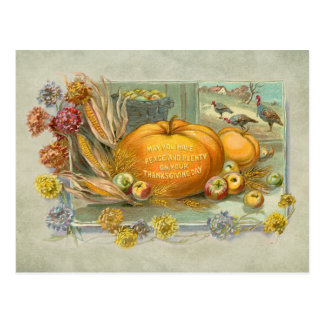 Vintage Thanksgiving Pumpkins, Fruit and Flowers Postcard