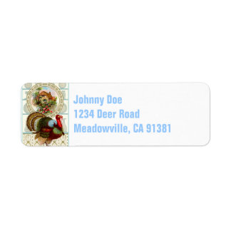Vintage Thanksgiving Turkey and Cottage Return Address Label