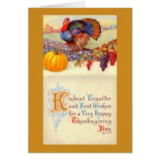 Vintage Thanksgiving Turkey and Harvest Scene Card