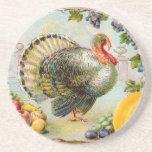 Vintage Thanksgiving Turkey Beverage Coasters