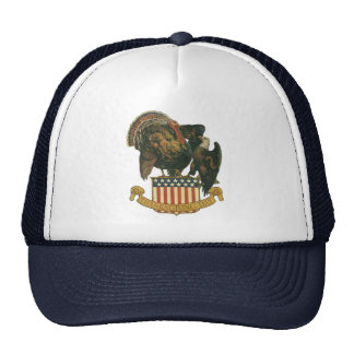 Vintage Thanksgiving Turkey Eagle Amercan Flag Hat