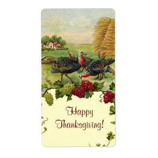 Vintage Thanksgiving Turkey Labels