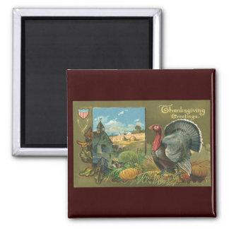 Vintage Thanksgiving, Turkey on the Farm Magnet