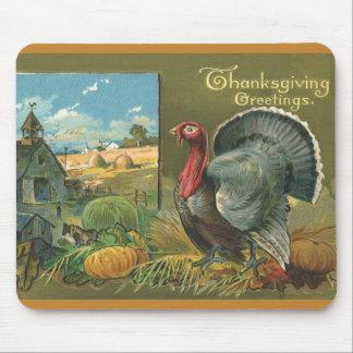 Vintage Thanksgiving, Turkey on the Farm Mouse Mat