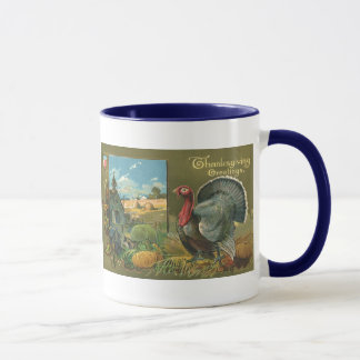 Vintage Thanksgiving, Turkey on the Farm Mug