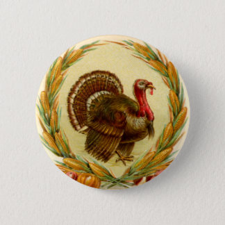Vintage Thanksgiving Turkey Round Button