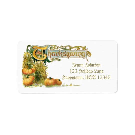 Vintage Thanksgiving Wheat and Pumpkins Label