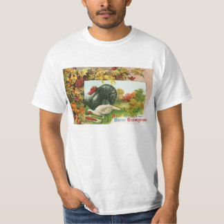Vintage Thanksgiving, Wild Turkeys Autumn Colors T-Shirt