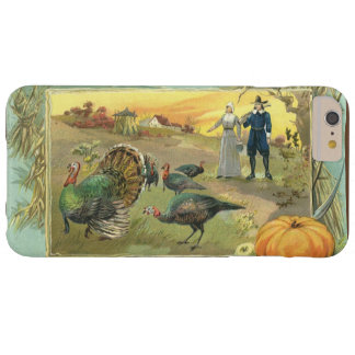 Vintage Thanksgiving with Turkeys and Pilgrims Barely There iPhone 6 Plus Case