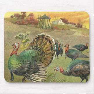 Vintage Thanksgiving with Turkeys and Pilgrims Mouse Mat